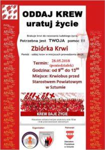 Zbiórka Krwi w Sztumie w dniu 28.05.2018 roku
